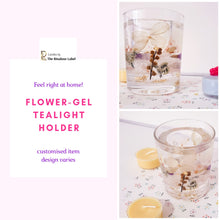 Load image into Gallery viewer, flower gel tealight holder is customised item with variable designs