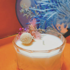 flower scented soy candle meant for display purpose. let the mild scent from the candle lingers within your space. design idea 3