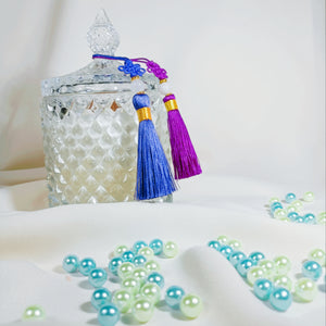 different colored tassels available on random for each crystal vessels