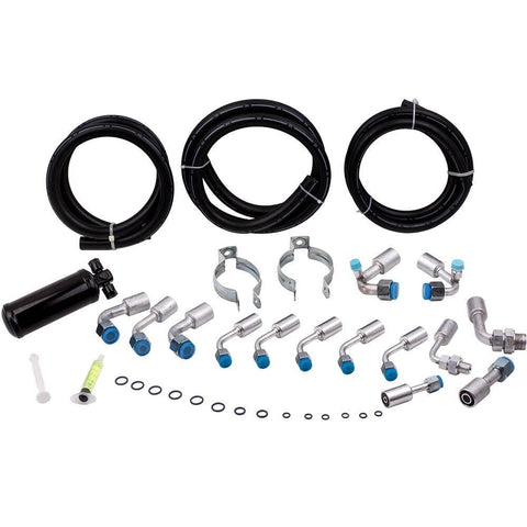 134a Air Conditioning Hose Kit O-Ring W/ Drier AC Hoses Fitting Kits MaxSpeedingRods