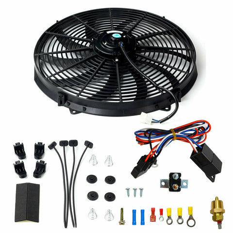 "16""ELECTRIC RADIATOR FAN HIGH 3000 CFM THERMOSTAT WIRING SWITCH RELAY KIT BLACK F1 Racing"