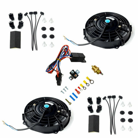 "2X BK 7"" Universal Electric Radiator Cooling Fan+Thermostat Relay Install Kit F1 Racing"