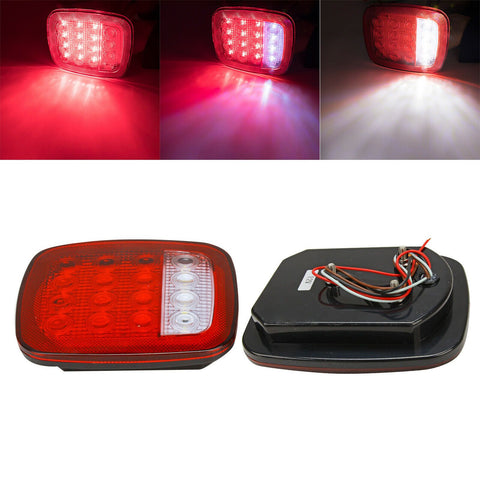 2X Trailer Truck 16 LED Stop Turn Tail Back Up Light For Jeep Wrangler JK TJ CJ F1 RACING