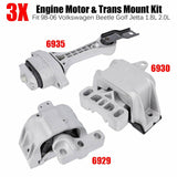 3PCS Motor & Trans Mount Kit Fits 98-06 Volkswagen Beetle Golf Jetta 1.8L 2.0L F1 Racing