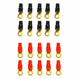 4 AWG Wire Crimp Cable 4 Gauge Ring Terminal 20 Pack Red&Black Boots F1 RACING