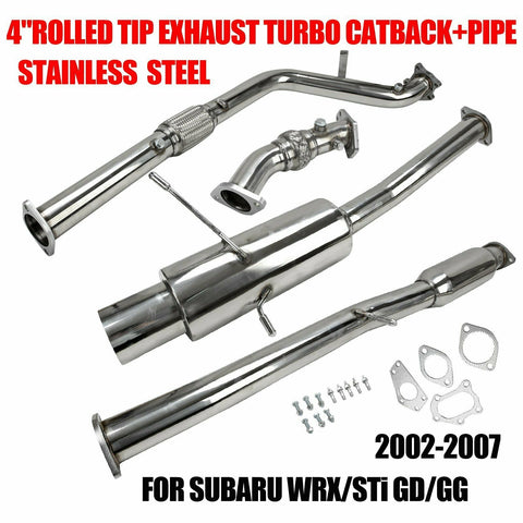 "4""rolled tip stainless exhaust turbo catback+pipe for 02-07 subaru wrx/sti gd/gg F1 Racing"
