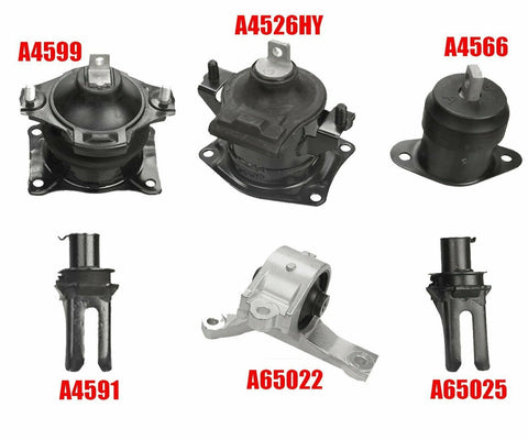 6PCS Auto Engine Motor & Trans Mount Set Fit 2007-2008 Acura TL 3.2L 3.5L 07-08 F1 Racing