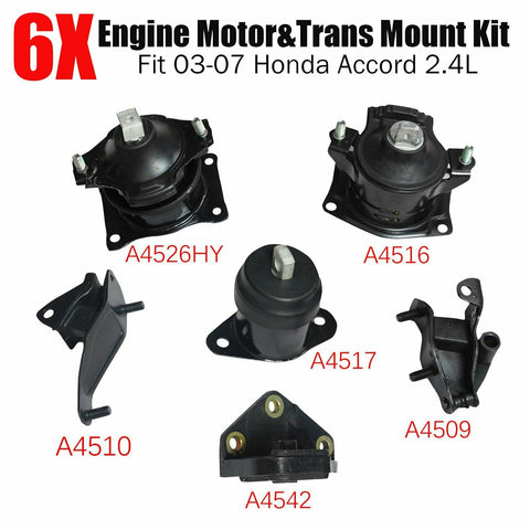 6Pcs Engine Motor & Trans Mount Kit Fits Auto 2003-2007 Honda Accord 2.4L Black F1 Racing