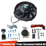 7in. Slim Push Pull Electric Radiator Cool Fan+12V Thermostat Control Relay Wire F1 Racing