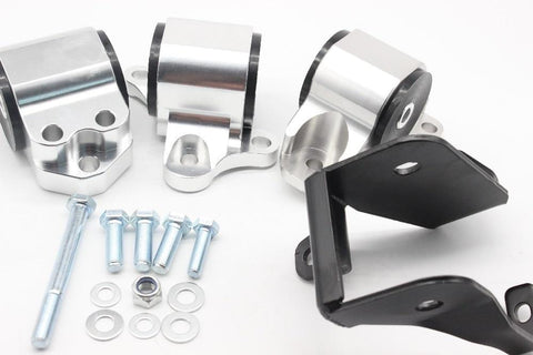 B-Series 3 Bolt Billet Motor Mount Swap Kit - 96-00 EK - (Silver) Dynamic Performance Tuning