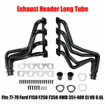 Black Performance Exhaust Header For 77-79 F150/250/350/Bronco 4WD 351-400 Ci V8 F1 Racing
