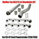 For 2003-2007 Ford Powerstroke F250 F350 Muffler Cat Delete 6.0L Manifolds Kit F1 Racing