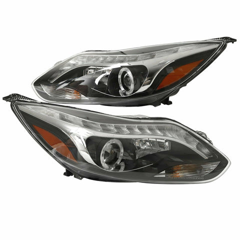 For 2012-2014 Ford Focus Pair Halo LED Projector Headlights Lamps Black 12-14 F1 RACING