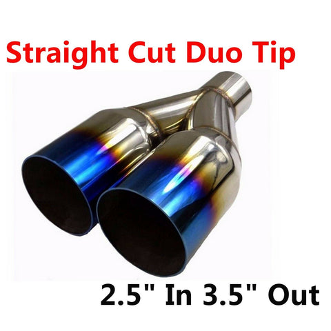 "Polished Stainless 2.5"" In 3.5"" Out Blue Burnt Straight Cut Duo Exhaust Tip F1 Racing"