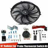 "Radiator 12V Fan Thermostat Control Relay Wire+16""Slim Push Pull Cooling Fan Kit F1 Racing"