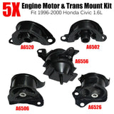 Set of 5PCS Engine Motor & Trans Mount Set Fit 1996-2000 Honda Civic 1.6L Black F1 Racing
