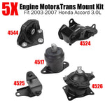 Set of 5Pcs Motor & Trans Mount Kit Fit 2003-2007 Honda Accord 3.0L Auto Trans F1 Racing