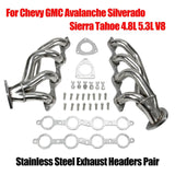 Stainless Headers For Chevy GMC Avalanche Silverado Sierra Tahoe 4.8L 5.3L V8 F1 Racing