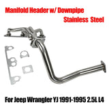 Stainless Manifold Header w/ Downpipe Fits Jeep Wrangler YJ 1991-1995 2.5L L4 F1 Racing