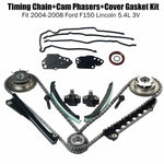 Timing Chain+Cam Phasers+Cover Gasket Kit Fit 04-08 Ford F150 Lincoln 5.4L 3V F1 Racing