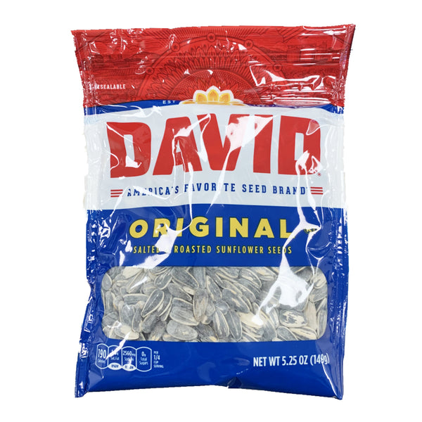 CLOSE OUT SPECIAL! David Original Salted & Roasted Sunflower Seeds (box of 12)
