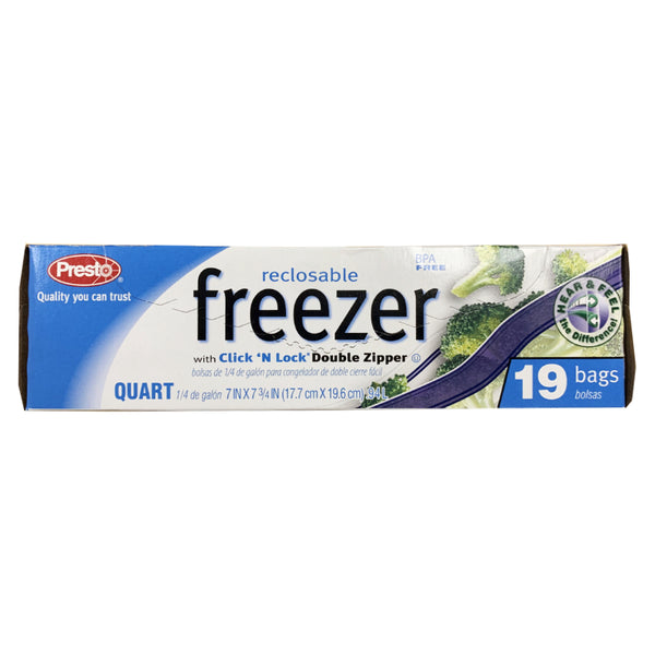 CLOSE OUT SPECIAL! Presto Reclosable Freezer Quart bags (19 count)
