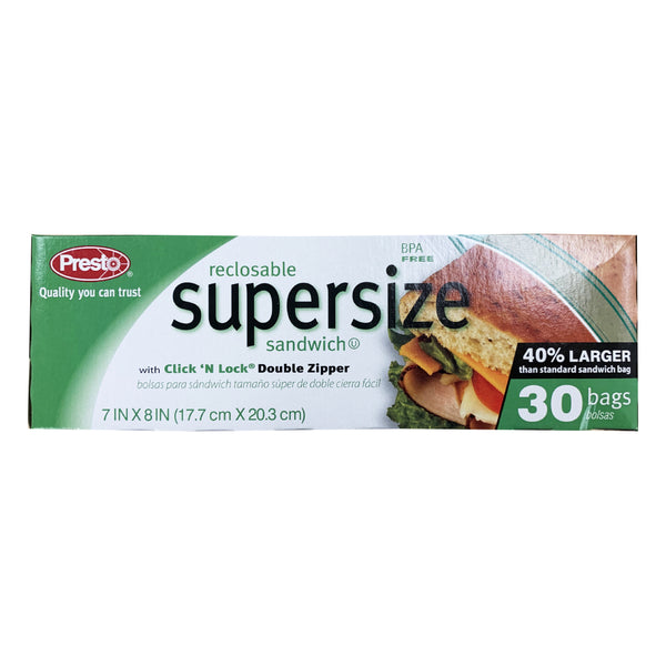 CLOSE OUT SPECIAL! Presto Reclosable Supersize Sandwich bags (30 count)