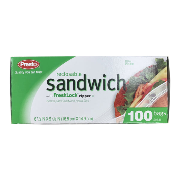 CLOSE OUT SPECIAL! Presto Reclosable Sandwich Bags (100 count)
