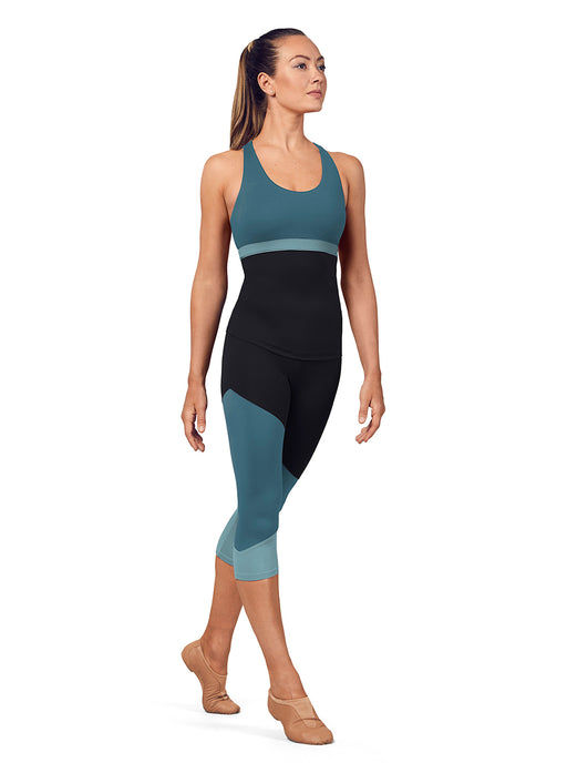 Bloch Color Paneled Capri Leggings in Seaport