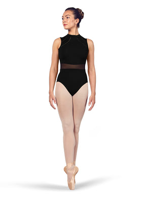 Bloch Ladies Black High Neck Mesh Waist Leotard