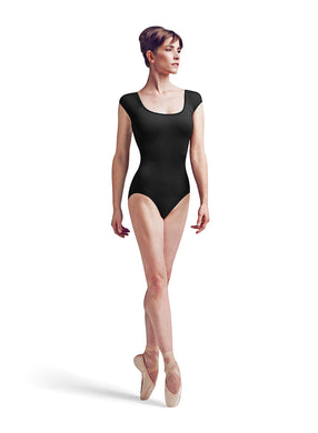 Adult Black Twin Plait Cap Sleeve Leotard