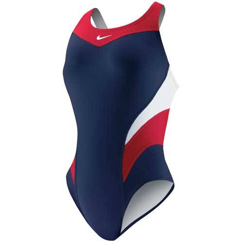 Nike Victory Color Block Power Back Tank One Piece in Red/Navy
