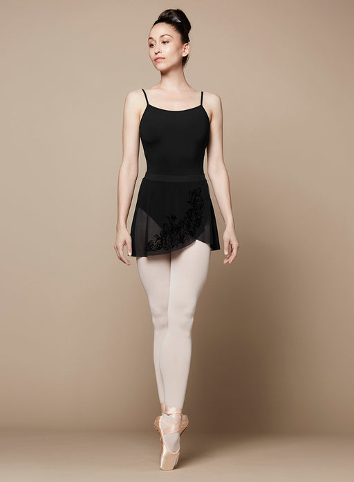 Bloch Placement Flock Wrap Skirt in Black
