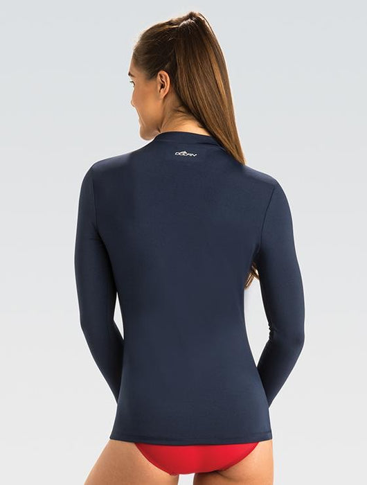 Womens Navy Mock Neck Long Sleeve Rash Guard