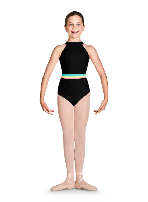 Bloch Girls Gelato Stripe Halter Neck Leotard