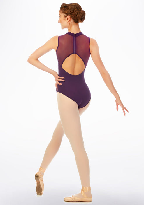 Mirella Aubergine Purple Mesh Cut-Out Back Leotard