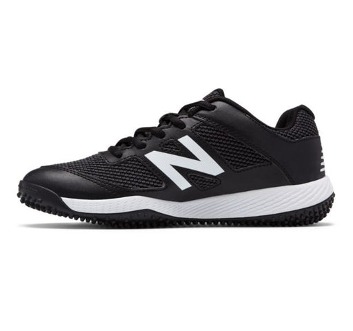 New Balance Kid's 4040v4 Turf Baseball (Black and White) - DiscoSports