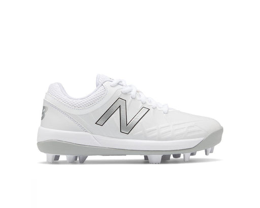 New Balance J4040TW5 Youth Low Molded Baseball Cleats (White and Grey) - DiscoSports