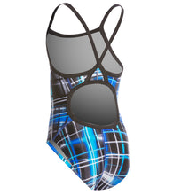 Load image into Gallery viewer, Speedo Blue Laser Sticks Girl's Swimsuit