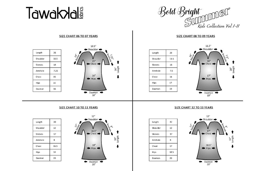 Kid's Collection By Tawakkal Fabrics Size Chart