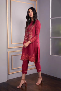 Sapphire 2 Piece Unstitched Embroidered Suit Burnt Red - MEL - V4