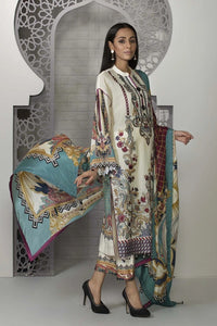 Sapphire 3 Piece Unstitched Embroidered Suit Bloom Ready - V4