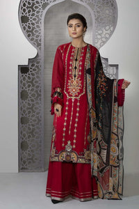 Sapphire 3 Piece Unstitched Embroidered Suit Rose Rouge - V4