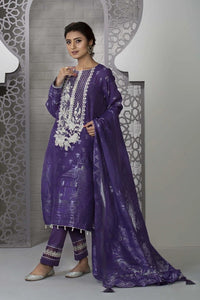 Sapphire 3 Piece Unstitched Embroidered Jacquard Purple Sky - V4