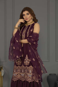 Sapphire Unstitched 3 Piece Embroided Perfect Plum - V4