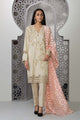 Sapphire 3 Piece Unstitched Embroidered Slub Lawn Peachy Shades - V4
