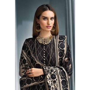 Black 3PC Embroidered Khaddar Shirt with Zari Embroidered Shawl AYE-03