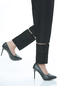 LSM Embroidered Stitched Trousers LSM-1601 Black