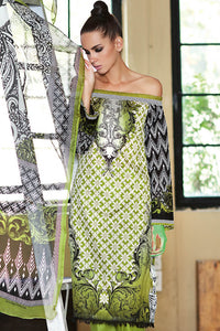 GREEN 3 PC PRINTED LA CHIFFON DRESS C-428