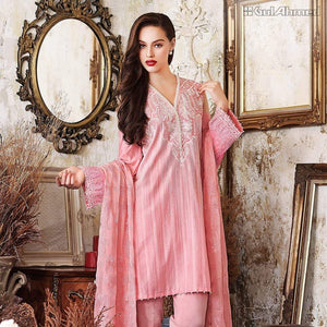 Gul Ahmed 3 piece emroided chiffon baby pink FE-50